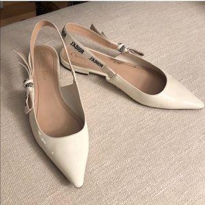 Dior J'Adior White Patent Leather Slingback Flats